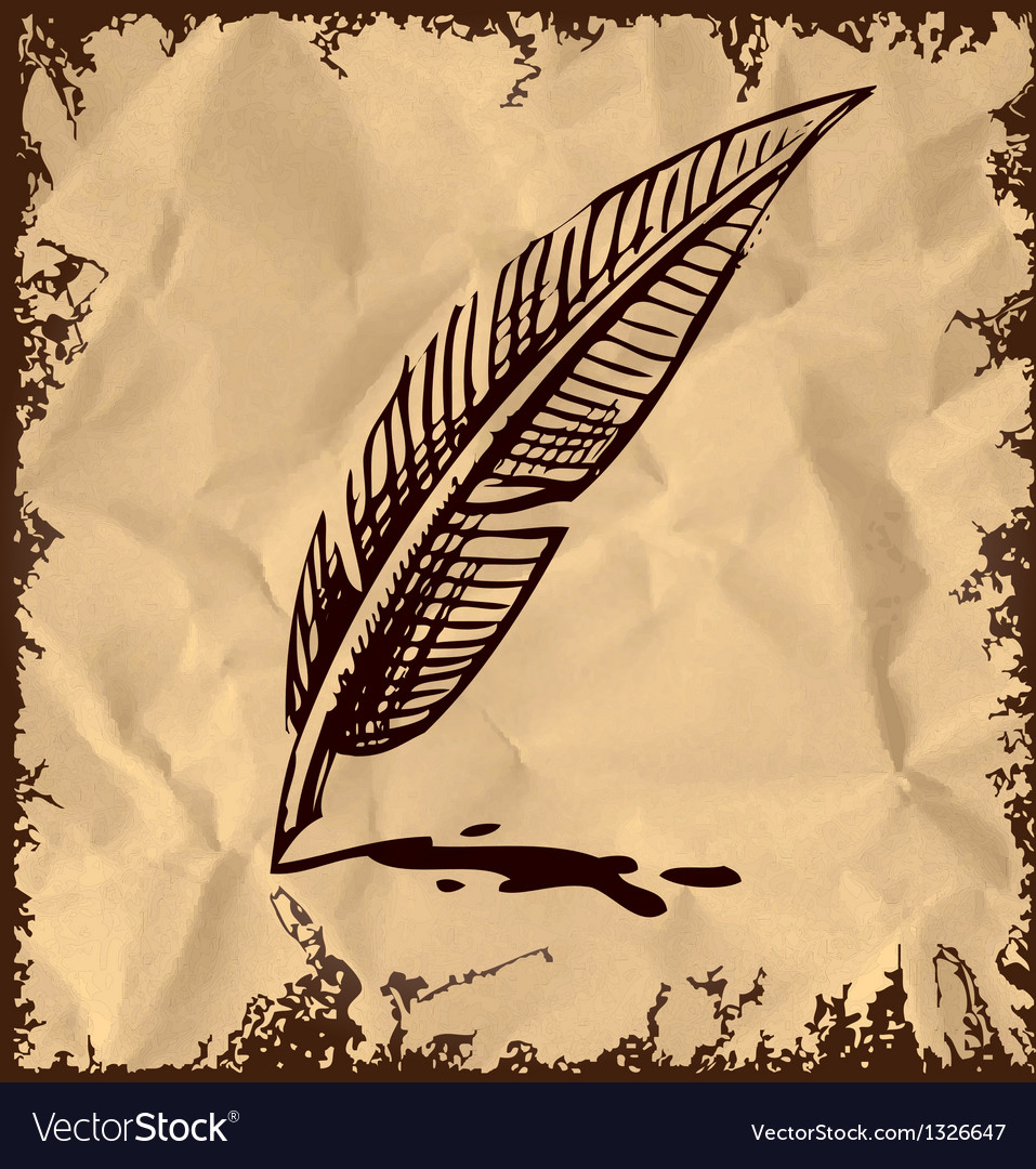 Writing quill on vintage background vector | Price: 1 Credit (USD $1)