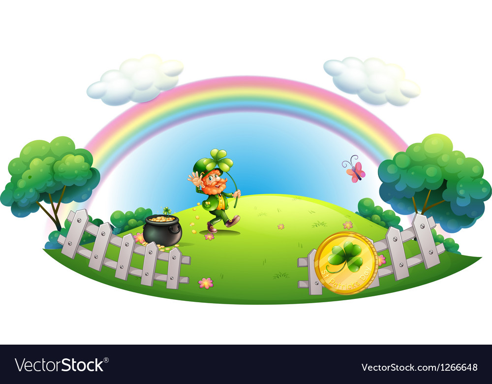A man with a pot of gold coins inside the fence vector | Price: 1 Credit (USD $1)