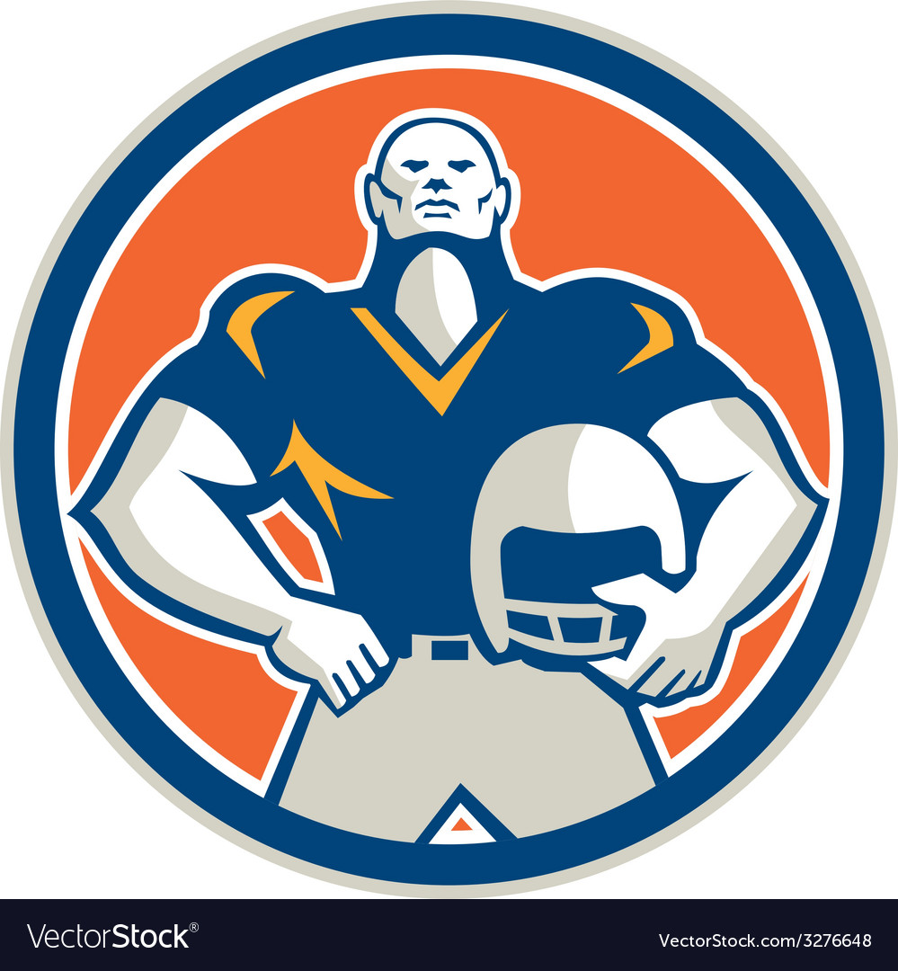 American football with helmet circle retro vector | Price: 1 Credit (USD $1)