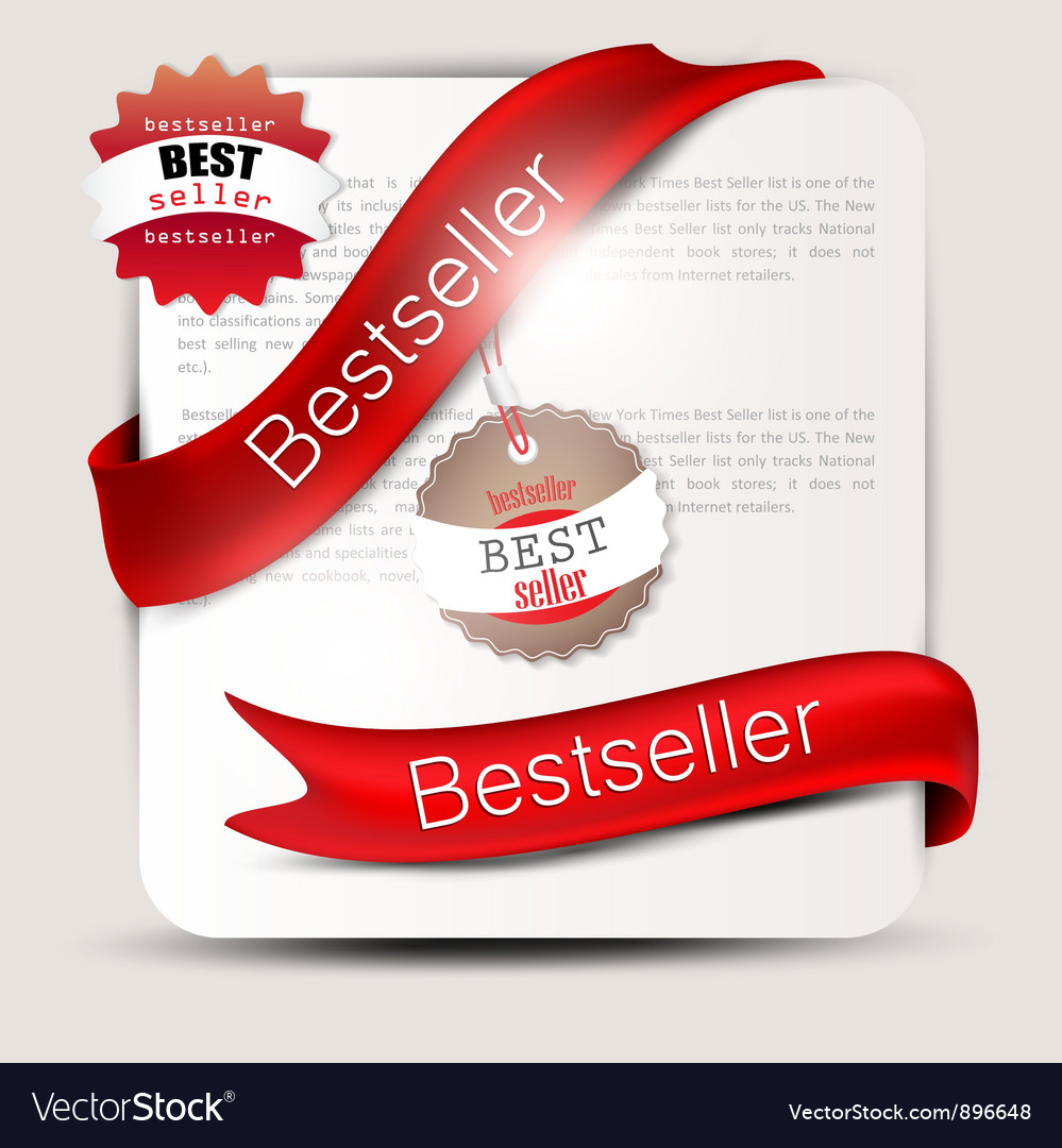 Bestseller red banners and labels set vector | Price: 1 Credit (USD $1)