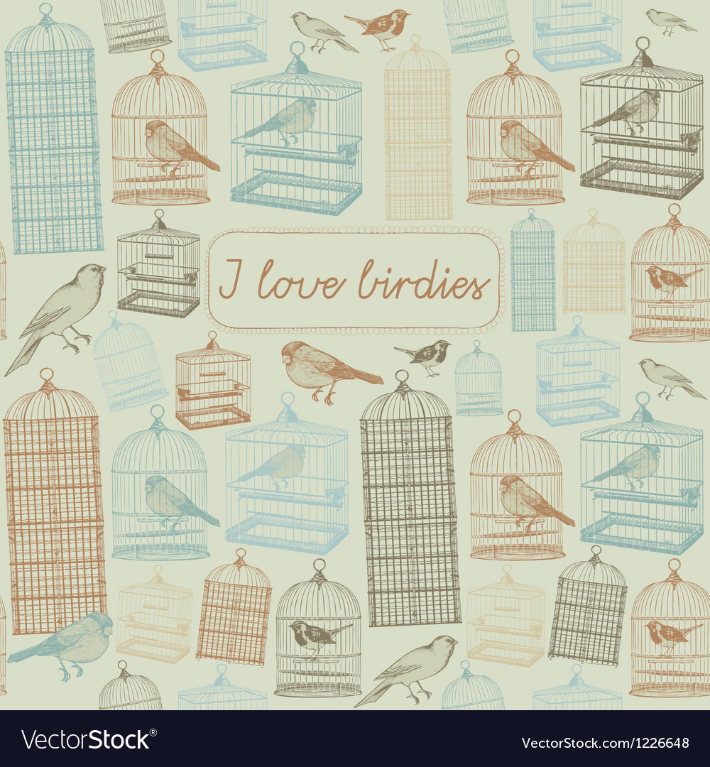Birds and cages seamless pattern vector   Price: 1 Credit (USD $1)