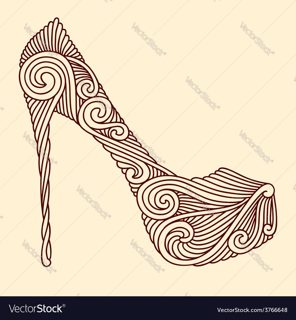 Brown ornamental shoe vector | Price: 1 Credit (USD $1)