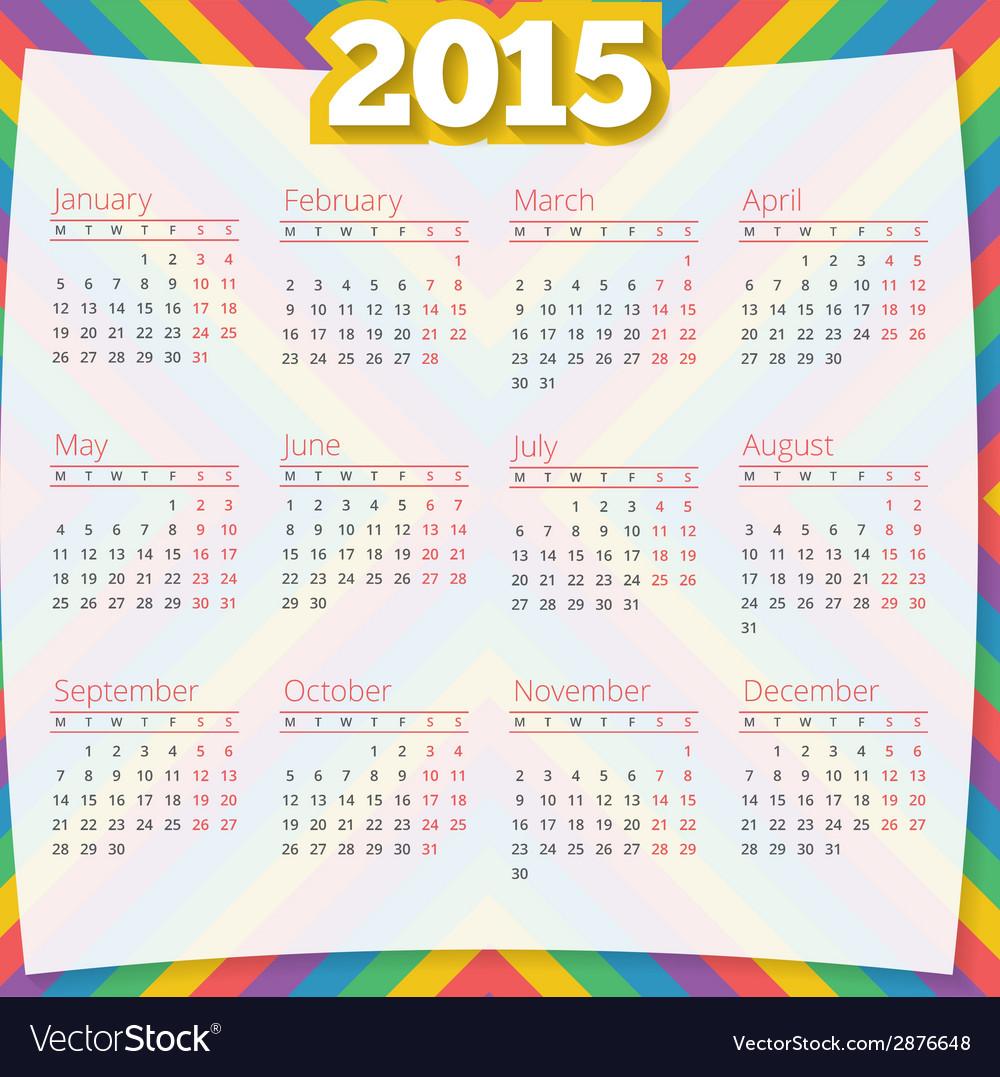 Calendar template 2015 design background vector | Price: 1 Credit (USD $1)