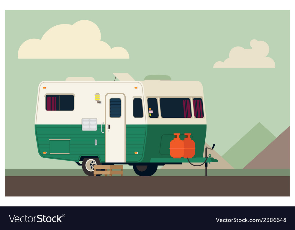 Camping trailer vector | Price: 1 Credit (USD $1)