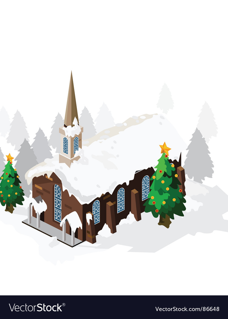 Church on christmas vector | Price: 1 Credit (USD $1)