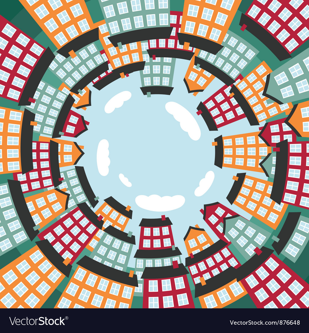 Colorful spherical town vector | Price: 1 Credit (USD $1)