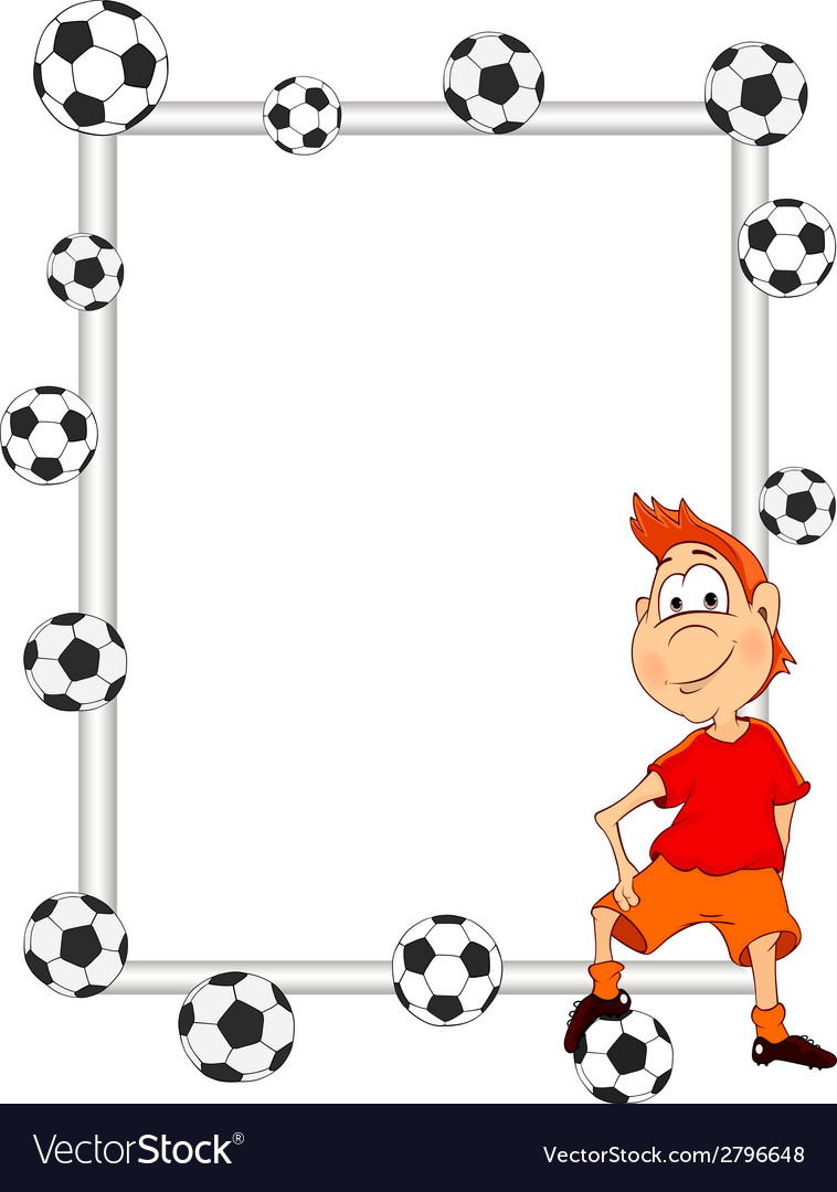 Frame with a soccer player cartoon vector | Price: 1 Credit (USD $1)