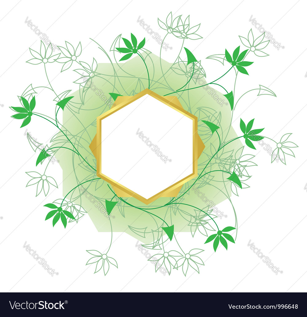 Golden frame with white center and green plants vector | Price: 1 Credit (USD $1)