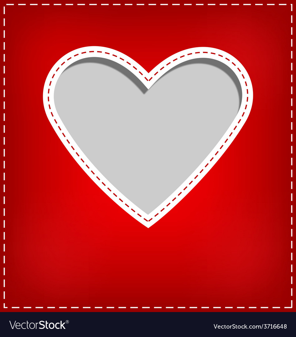 Heart cutout in red card on grey vector | Price: 1 Credit (USD $1)