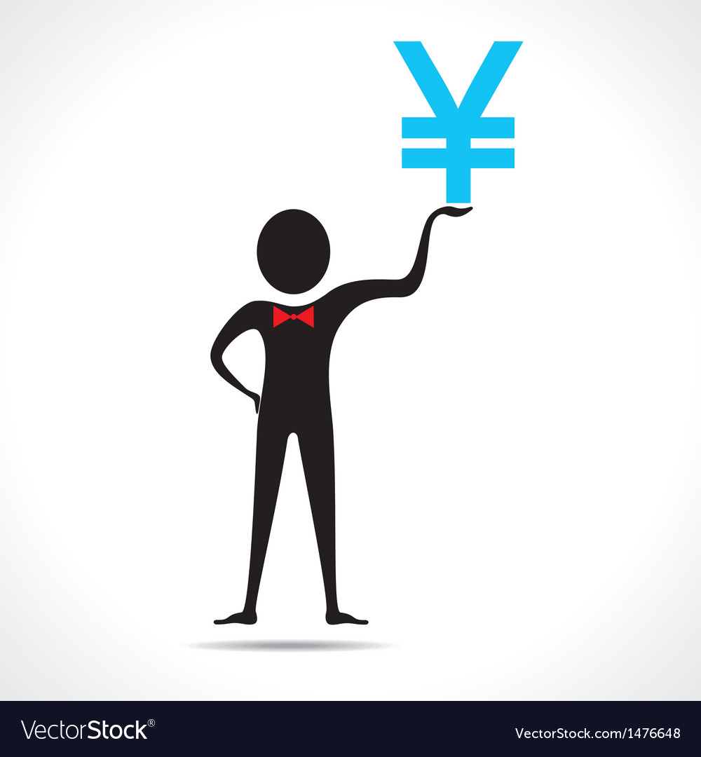 Man holding yen symbol vector | Price: 1 Credit (USD $1)