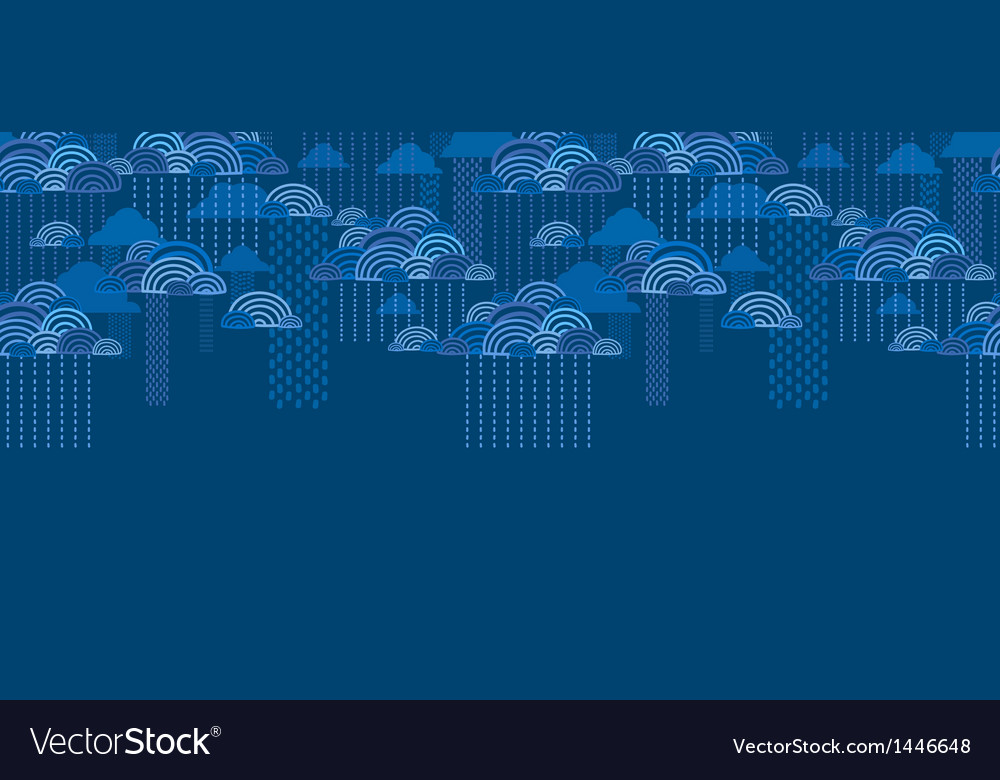 Rain clouds horizontal seamless pattern background vector | Price: 1 Credit (USD $1)