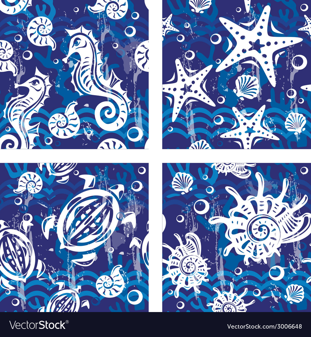 Seampless patterns with sea symbols vector | Price: 1 Credit (USD $1)