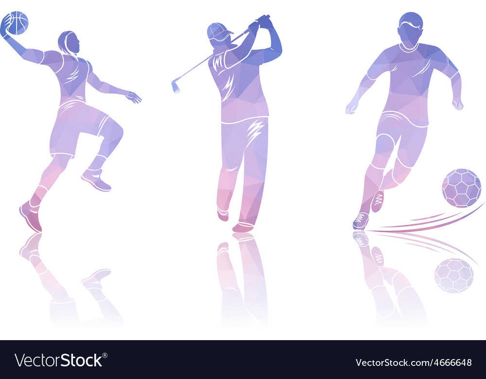 Set shapes golfers football and basketball vector | Price: 1 Credit (USD $1)