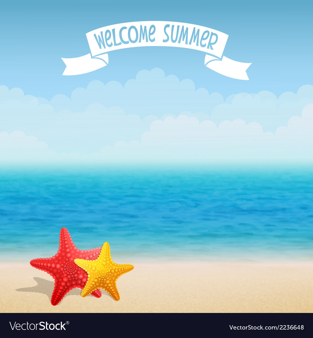 Starfish on the beach vector | Price: 1 Credit (USD $1)