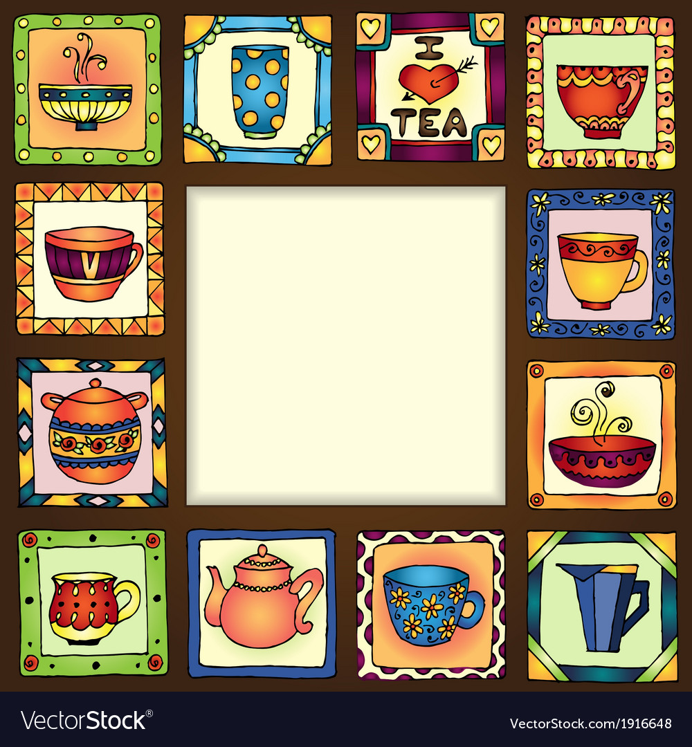 Tea cups and pots frame hand drawn design eps10 vector | Price: 1 Credit (USD $1)