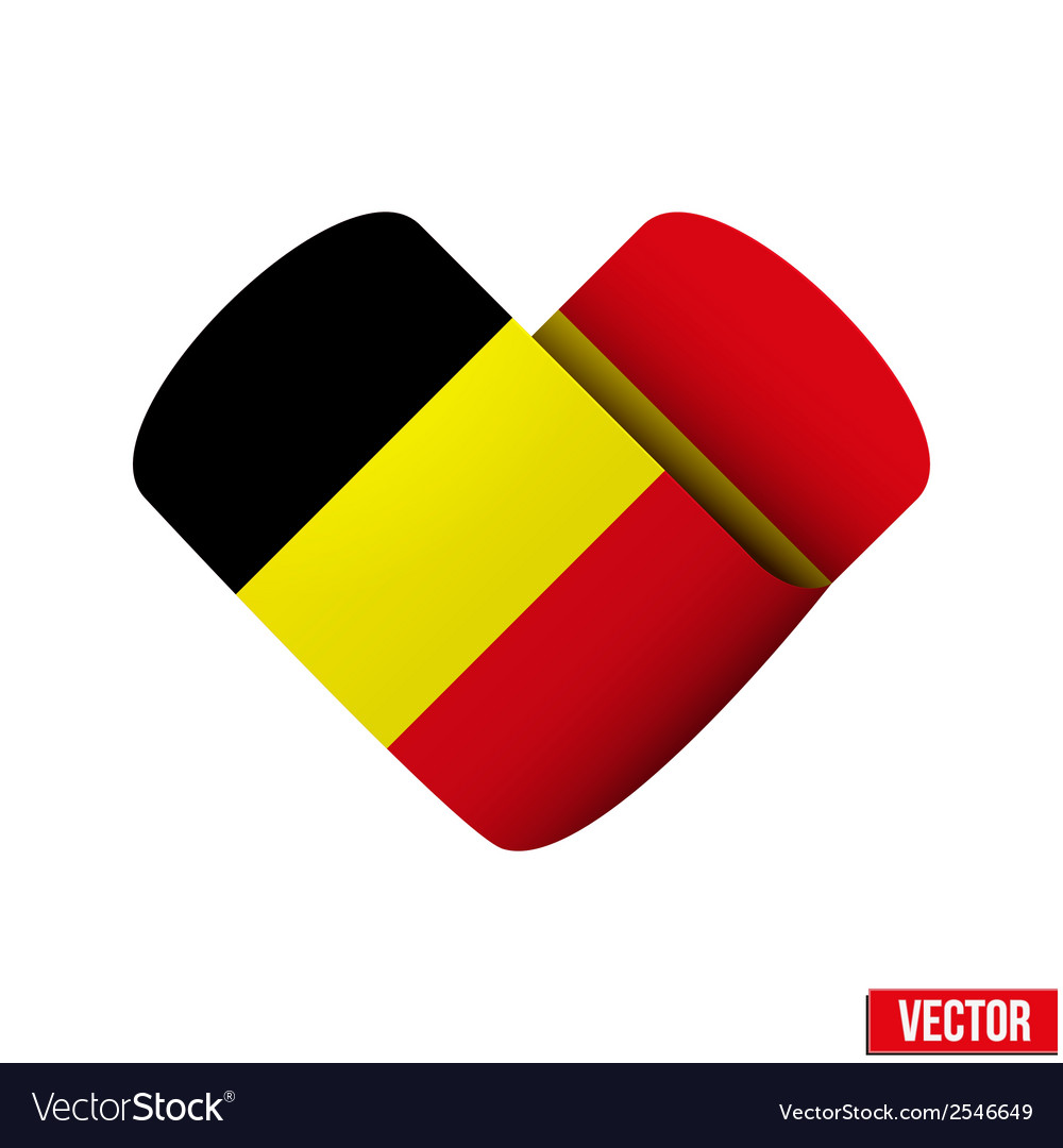 Flag icon in the form of heart i love belgium vector | Price: 1 Credit (USD $1)