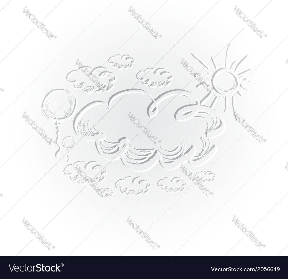 Hand drawing sky with clouds and sun vector | Price: 1 Credit (USD $1)
