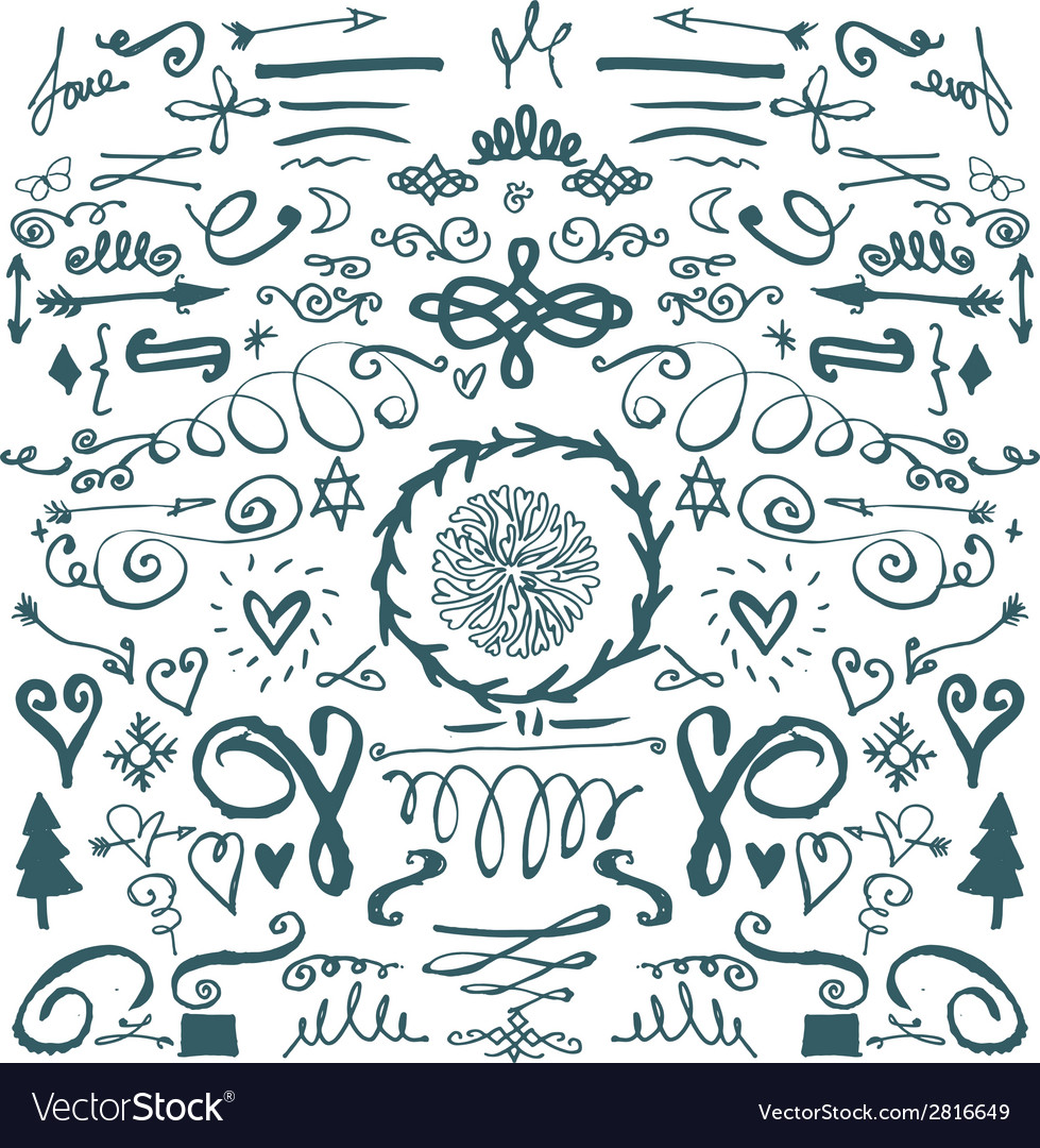 Hand drawn decorative doodles vector | Price: 1 Credit (USD $1)