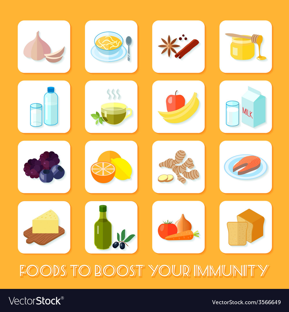 Healthy food icons flat vector | Price: 1 Credit (USD $1)