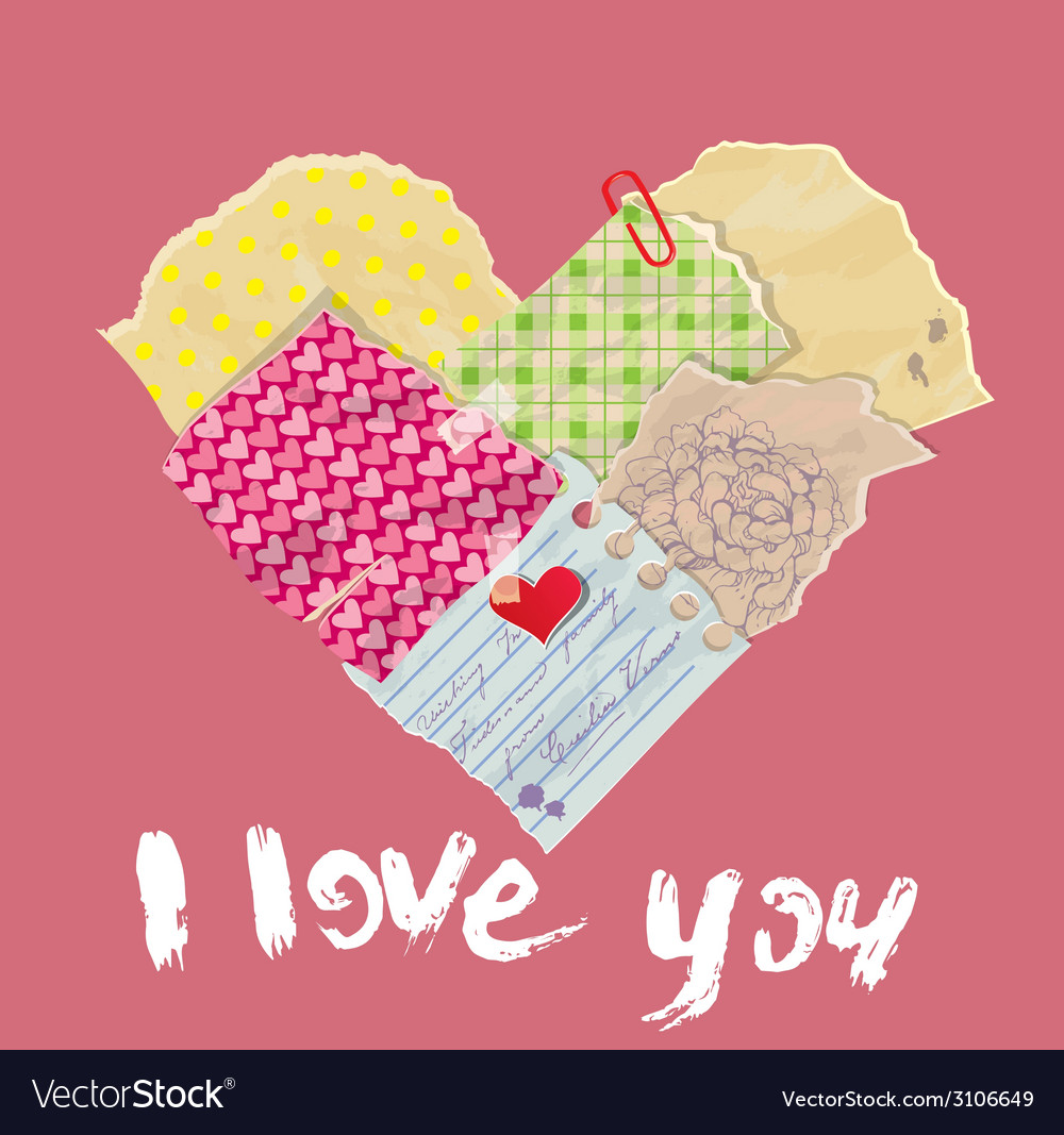 Heart old pupers scrap 380 vector | Price: 1 Credit (USD $1)