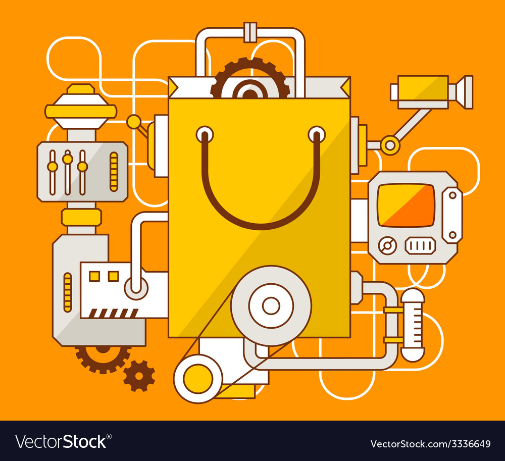 Industrial of the mechanism of shopping bag vector | Price: 1 Credit (USD $1)