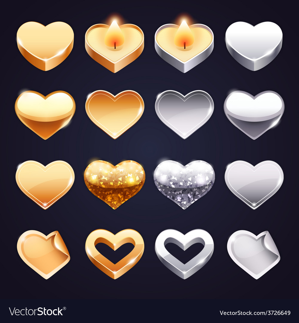 Set of golden and silver hearts vector | Price: 1 Credit (USD $1)