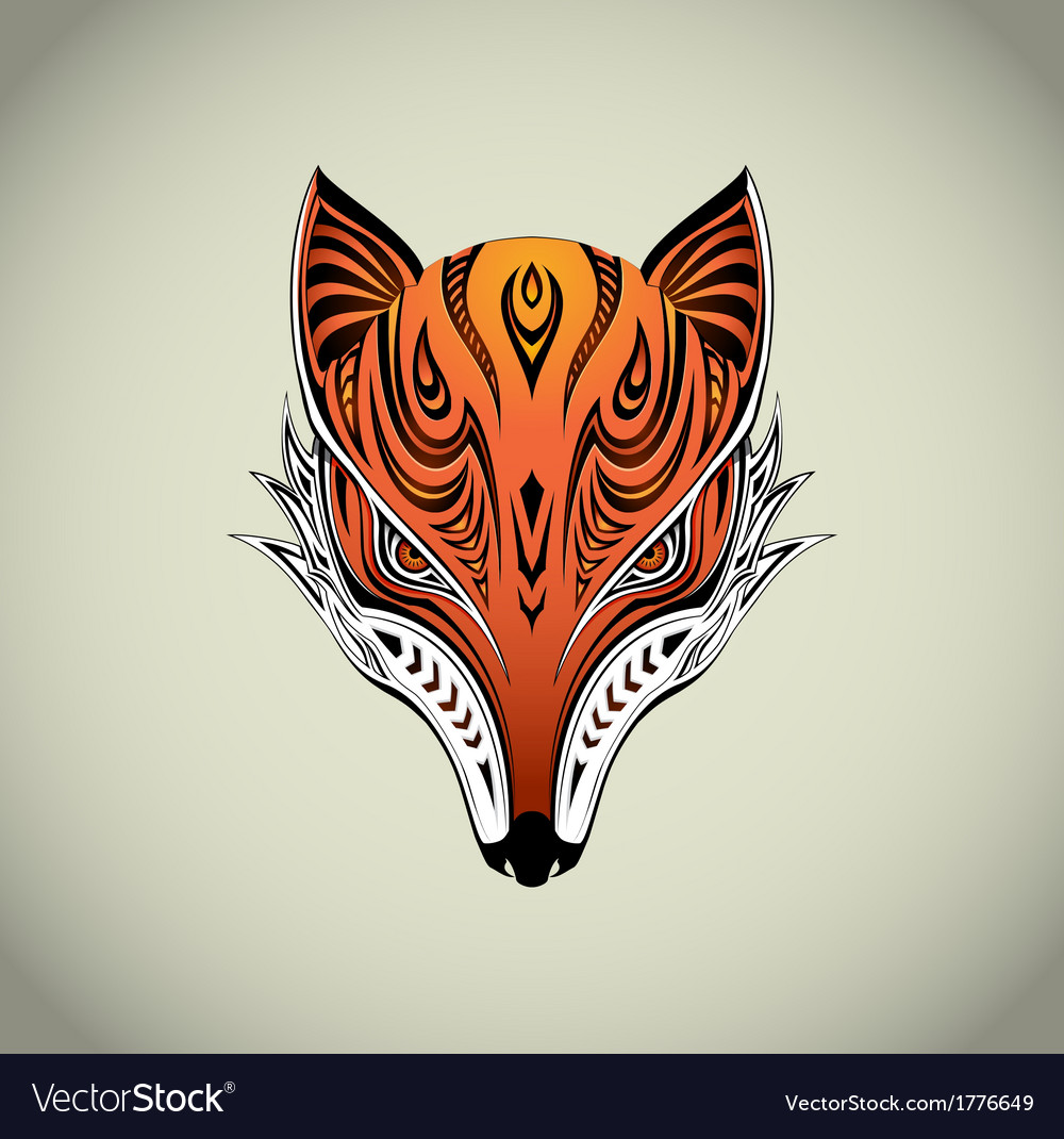 Tribal fox 1 vector | Price: 1 Credit (USD $1)