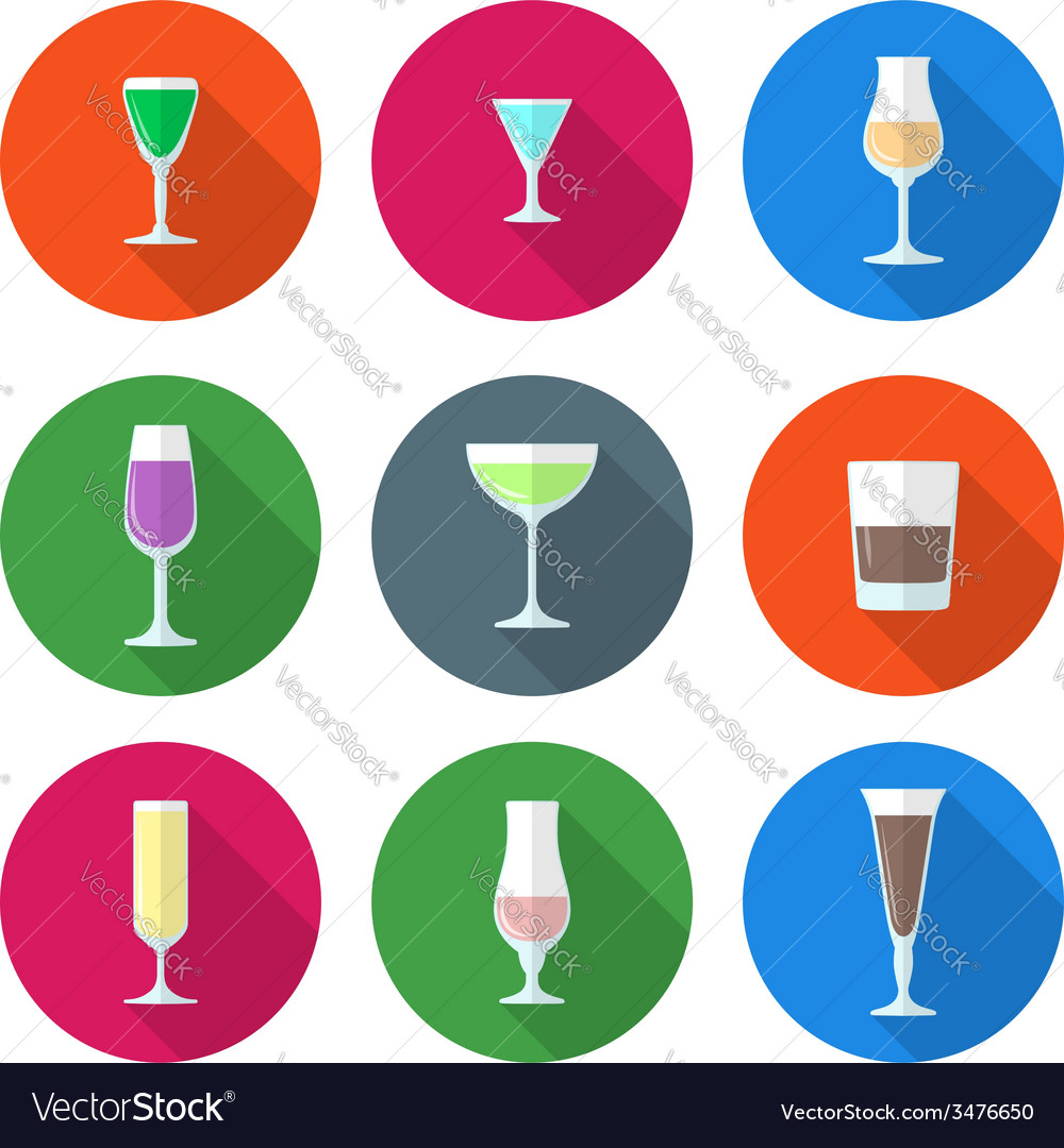 Flat solid colors alcohol glasses set vector | Price: 1 Credit (USD $1)