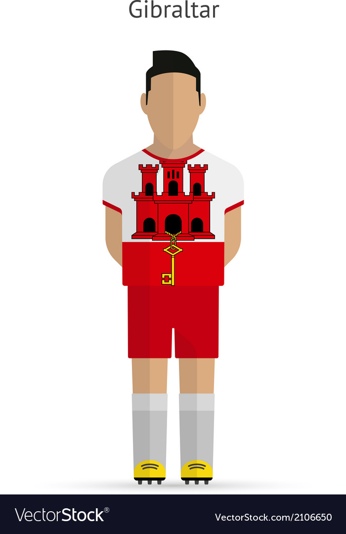 Gibraltar football player soccer uniform vector | Price: 1 Credit (USD $1)