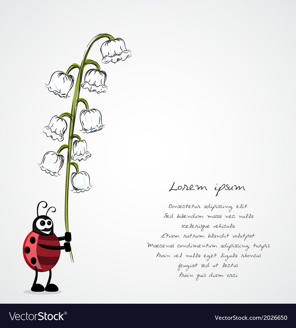 Lady bug holding plant vector | Price: 1 Credit (USD $1)