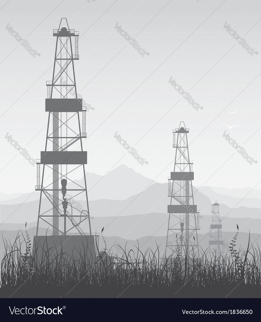 Landscape whith oil rigs over mountain range vector