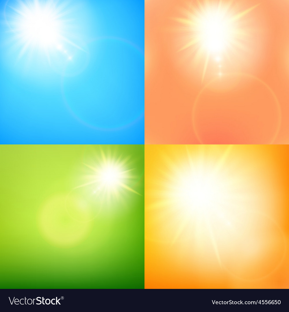 Summer sun burst with lens flare set eps 10 vector   Price: 1 Credit (USD $1)