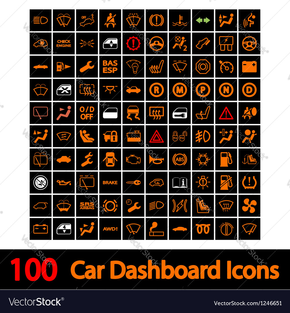 100 car dashboard icons vector | Price: 1 Credit (USD $1)