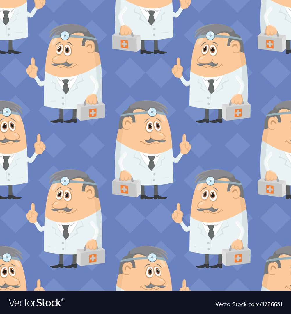 Cartoon doctor seamless vector | Price: 1 Credit (USD $1)