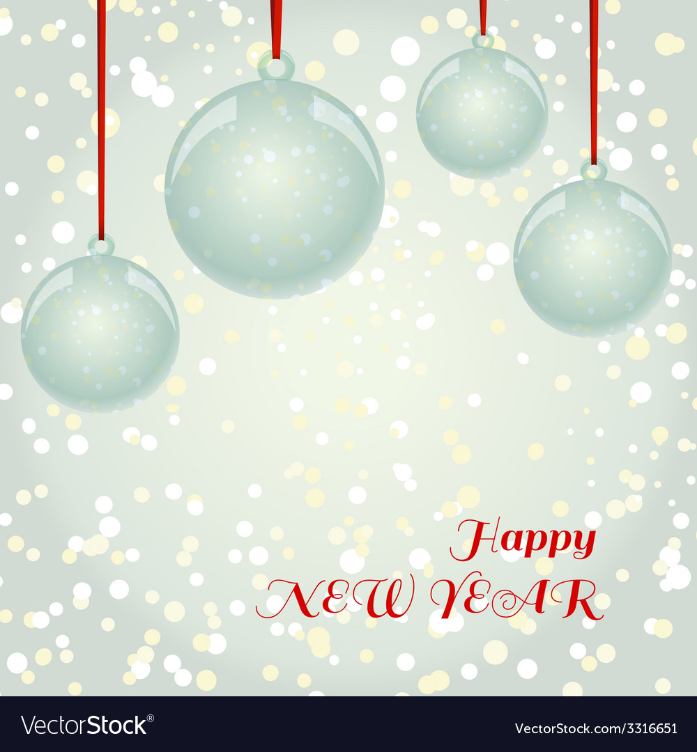 Christmas greeting card with glass balls vector | Price: 1 Credit (USD $1)