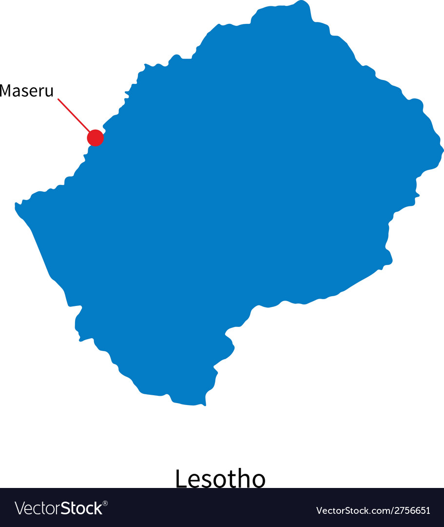 Detailed map of lesotho and capital city maseru vector | Price: 1 Credit (USD $1)
