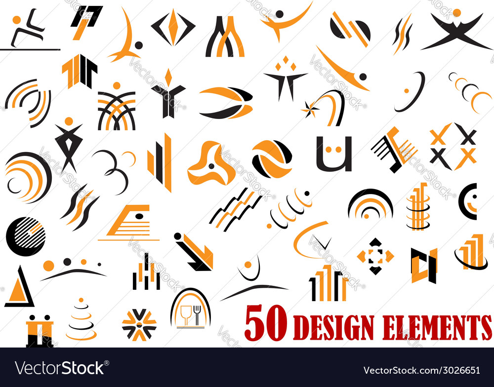 Fifty abstract design elements in black and yellow vector | Price: 1 Credit (USD $1)