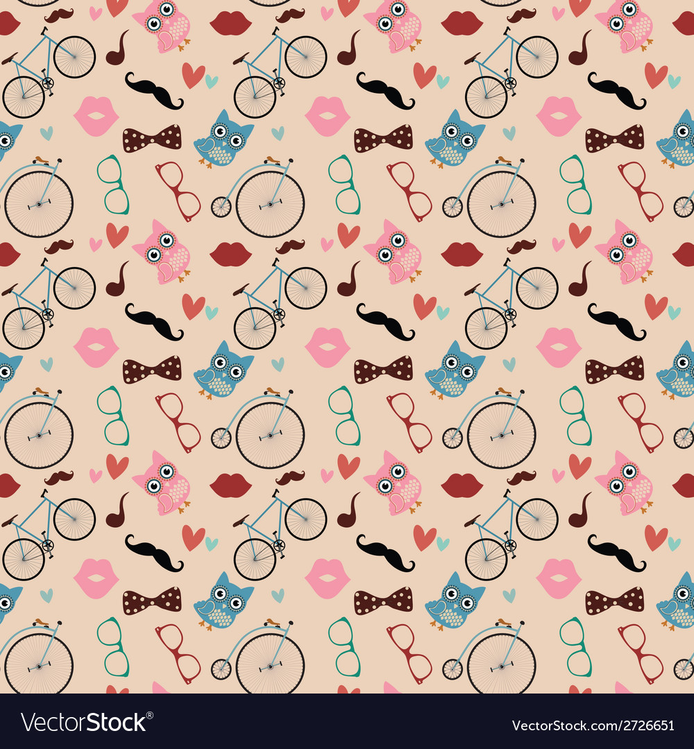 Hipster doodles colorful seamless pattern vector | Price: 1 Credit (USD $1)