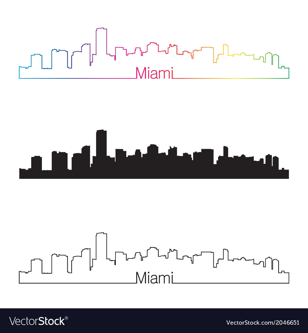 Miami skyline linear style with rainbow vector | Price: 1 Credit (USD $1)