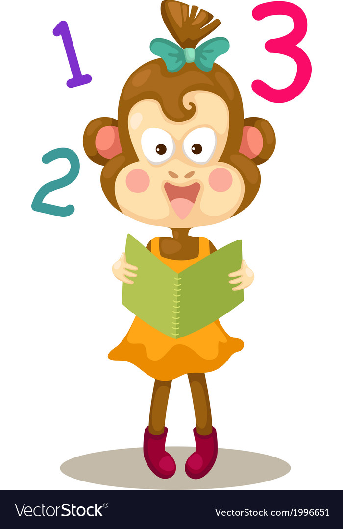 Monkey reading a book vector | Price: 1 Credit (USD $1)