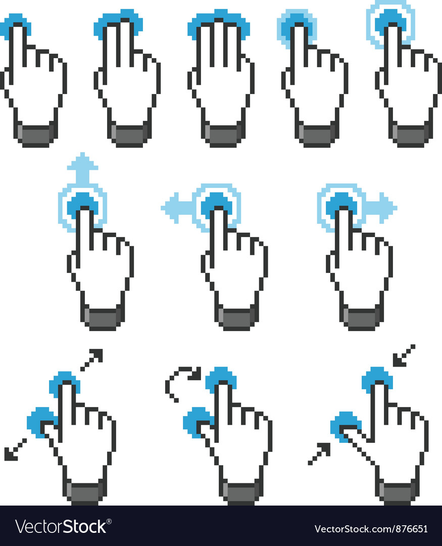 Pixel touch screen gestures vector | Price: 1 Credit (USD $1)