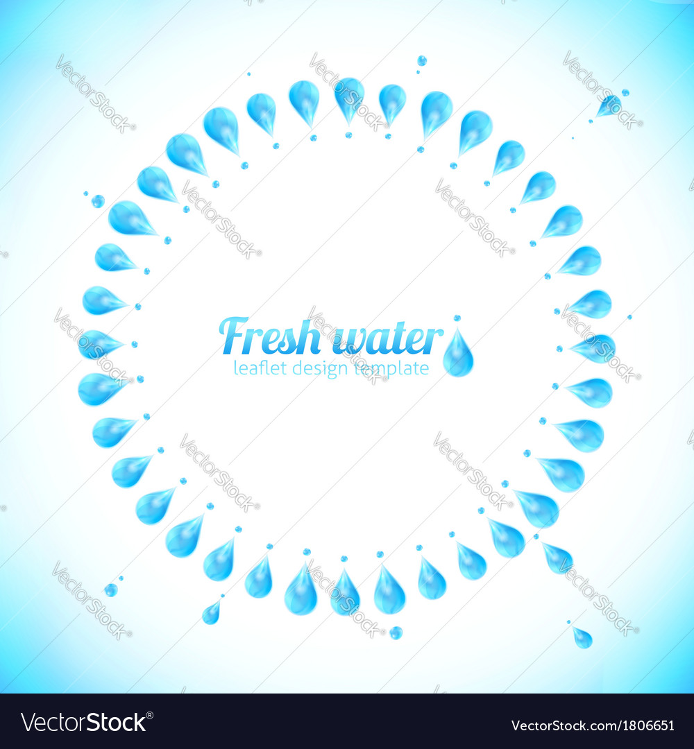 Realistic water drops circle frame vector | Price: 1 Credit (USD $1)