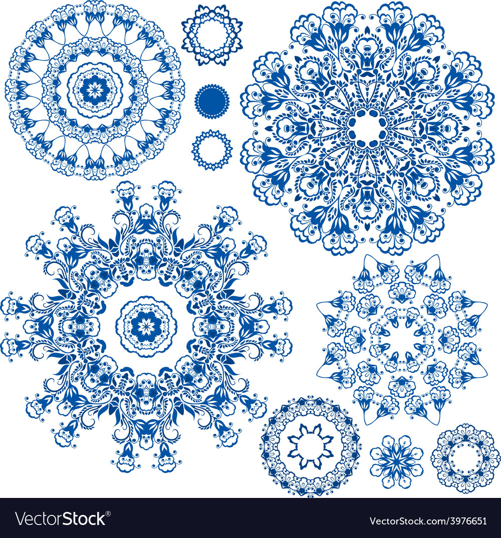 Round ornam blue 2 380 vector | Price: 1 Credit (USD $1)