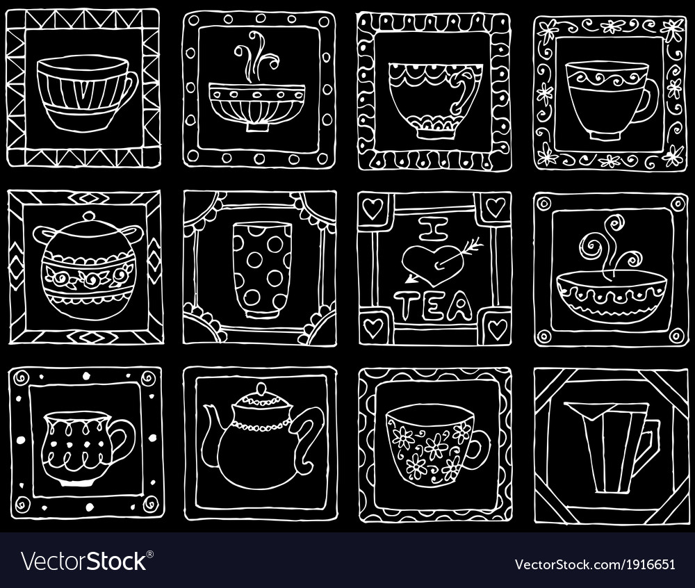 Tea cups and pots frame unique design eps10 vector | Price: 1 Credit (USD $1)