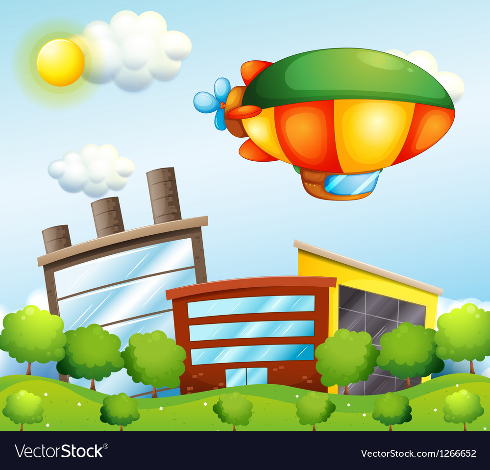A tri-colored airship at the top of the buildings vector | Price: 1 Credit (USD $1)