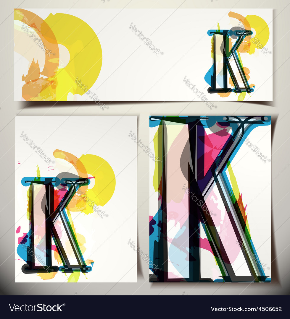 Artistic greeting card letter k vector | Price: 1 Credit (USD $1)