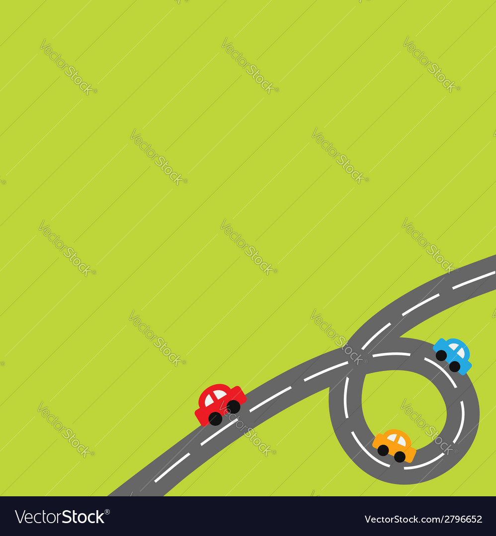 Background with loop road and cartoon cars vector | Price: 1 Credit (USD $1)