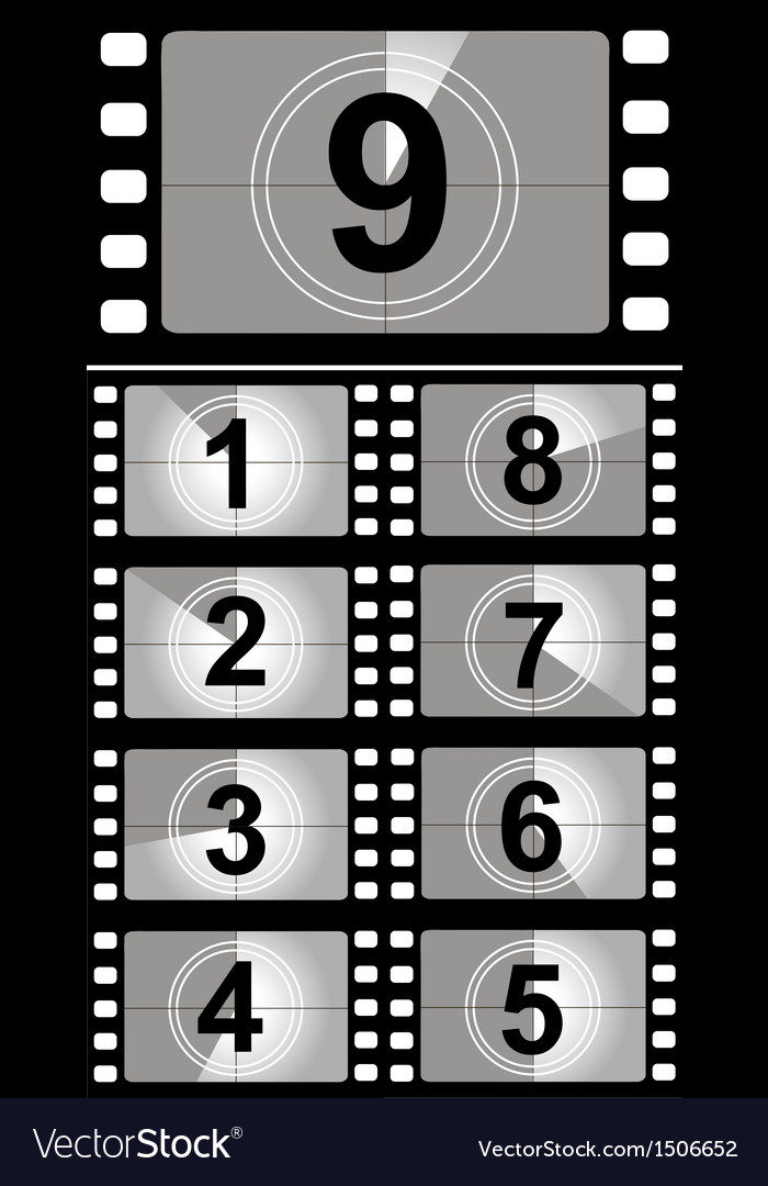 Film countdown numbers vector | Price: 1 Credit (USD $1)