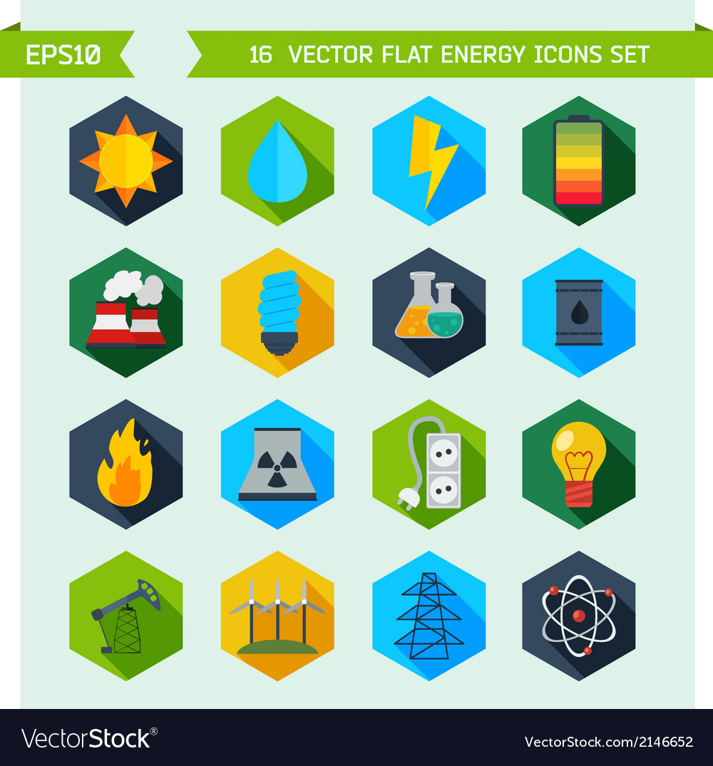 Flat ecology and energy icons vector | Price: 1 Credit (USD $1)