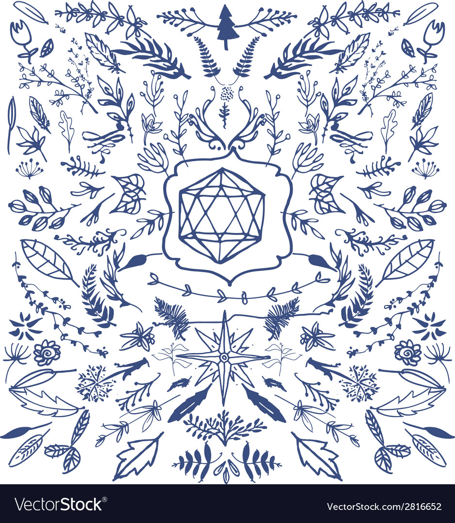 Hand drawn decorative floral vintage vector | Price: 1 Credit (USD $1)